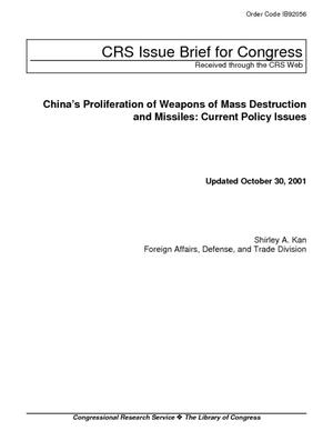 China's Proliferation of Weapons of Mass Destruction and Missiles: Current Policy Issues