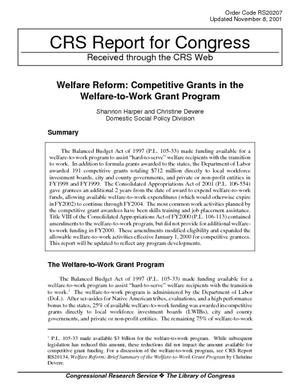 Welfare Reform: Competitive Grants in the Welfare-to-Work Grant Program