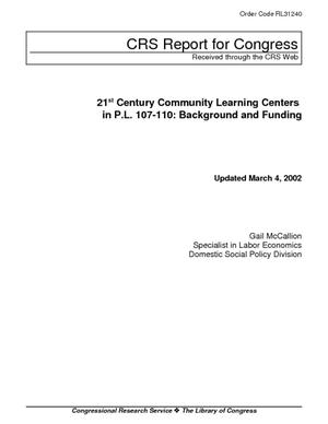 21st Century Community Learning Centers in P.L. 107-110: Background and Funding