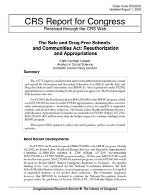 The Safe and Drug-Free Schools and Communities Act: Reauthorization and Appropriations