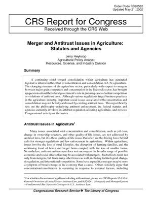 Merger and Antitrust Issues in Agriculture: Statutes and Agencies