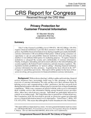 Privacy Protection for Customer Financial Information