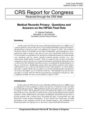 Medical Records Privacy: Questions and Answers on the HIPAA Final Rule