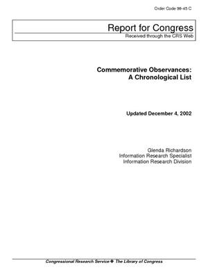 Commemorative Observances: A Chronological List