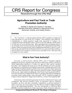 Agriculture and Fast Track or Trade Promotion Authority