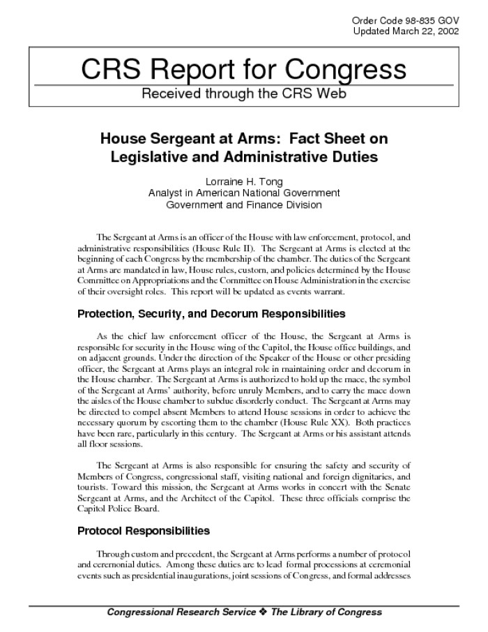 house sergeant at arms fact sheet on legislative and administrative