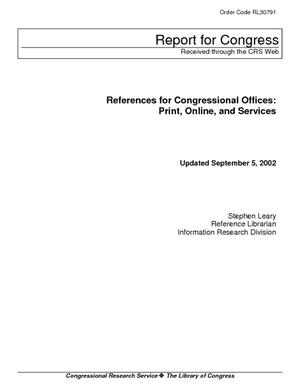 References for Congressional Offices: Print, Online, and Services