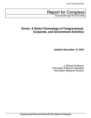 Enron: A Select Chronology of Congressional, Corporate, and Government Activities