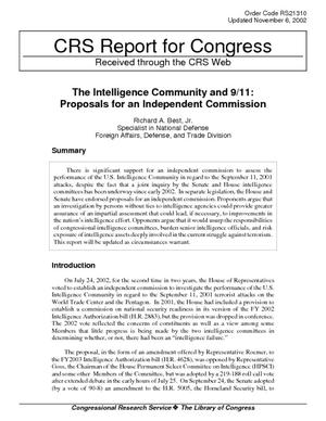 The Intelligence Community and 9/11: Proposals for an Independent Commission