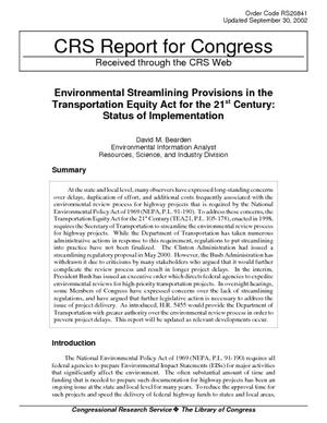 Environmental Streamlining Provisions in the Transportation Equity Act for the 21st Century: Status of Implementation
