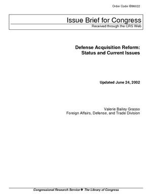 Defense Acquisition Reform: Status and Current Issues