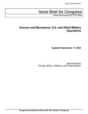 Kosovo and Macedonia: U.S. and Allied Military Operations