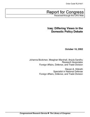 Iraq: Differing Views in the Domestic Policy Debate