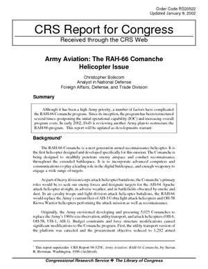 Army Aviation: The RAH-66 Comanche Helicopter Issue