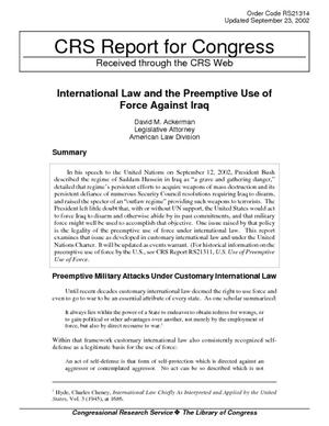 International Law and the Preemptive Use of Force Against Iraq