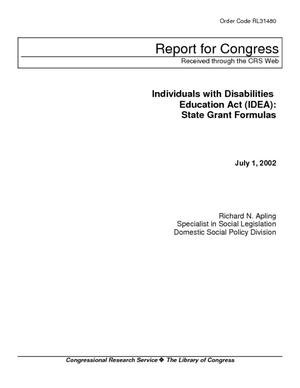 Individuals with Disabilities Education Act (IDEA): State Grant Formulas