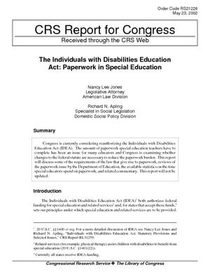 The Individuals with Disabilities Education Act: Paperwork in Special Education