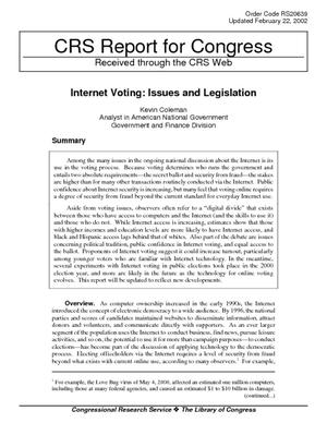 Internet Voting: Issues and Legislation