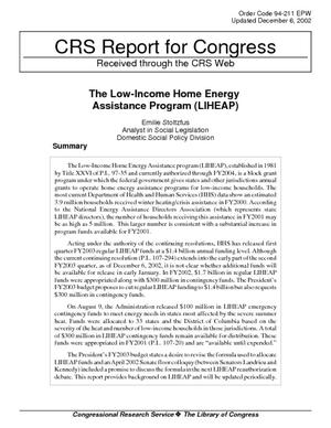 The Low-Income Home Energy Assistance Program (LIHEAP)