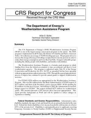 The Department of Energy's Weatherization Assistance Program