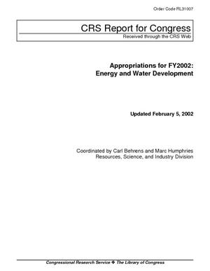 Appropriations for FY2002: Energy and Water Development
