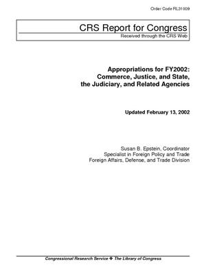 Appropriations for FY2002: Commerce, Justice, and State, the Judiciary, and Related Agencies
