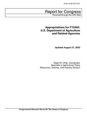 Primary view of Appropriations for FY2003: U.S. Department of Agriculture and Related Agencies