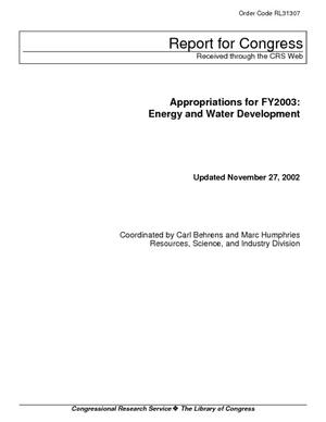 Appropriations for FY2003: Energy and Water Development