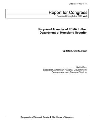 Proposed Transfer of FEMA to the Department of Homeland Security