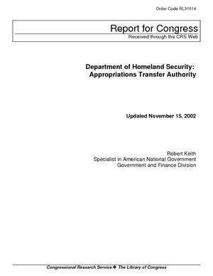 Department of Homeland Security: Appropriations Transfer Authority