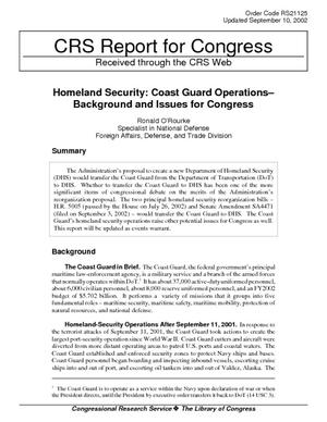Homeland Security: Coast Guard Operations - Background and Issues for Congress