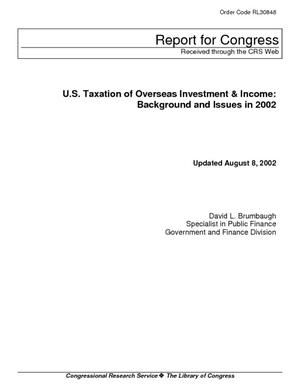 U.S. Taxation of Overseas Investment