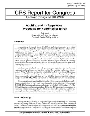 Auditing and Its Regulators: Proposals for Reform After Enron