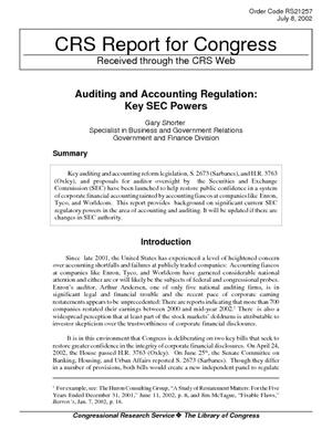 Auditing and Accounting Regulation: Key SEC Powers