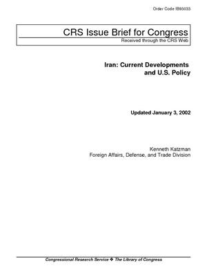 Iran: Current Developments and U.S. Policy