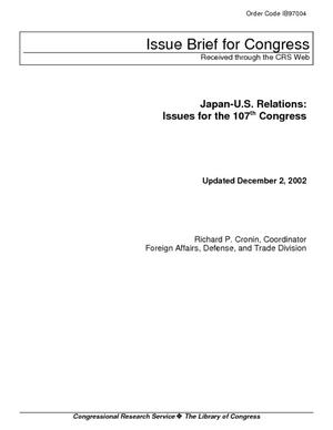 Japan-U.S. Relations: Issues for the 107th Congress