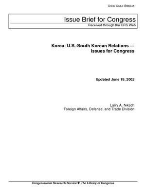 Korea: U.S.-South Korean Relations - Issues for Congress