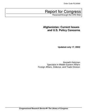 Primary view of Afghanistan: Current Issues and U.S. Policy Concerns