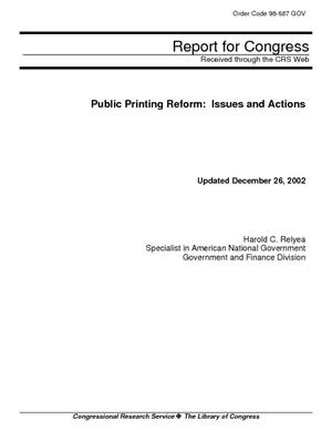 Public Printing Reform: Issues and Actions