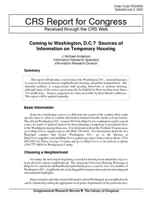 Coming to Washington, D.C.? Sources of Information on Temporary Housing
