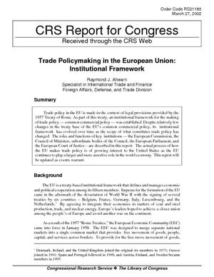 Trade Policymaking in the European Union: Institutional Framework