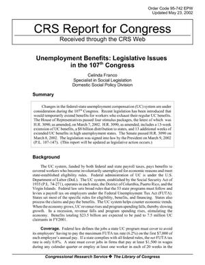 Unemployment Benefits: Legislative Issues in the 107th Congress