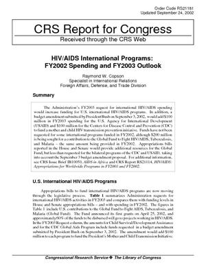 HIV/AIDS International Programs: FY2002 Spending and FY2003 Outlook