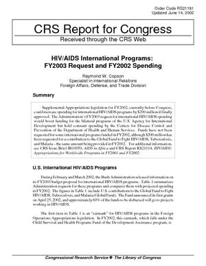 HIV/AIDS International Programs: FY2003 Request and FY2002 Spending
