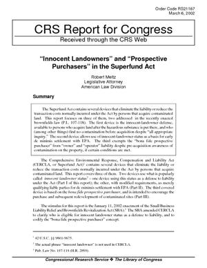 """Innocent Landowners"" and ""Prospective Purchasers"" in the Superfund Act"