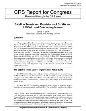 Satellite Television: Provisions of SHVIA and LOCAL, and Continuing Issues