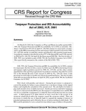 Taxpayer Protection and IRS Accountability Act of 2002, H.R. 3991