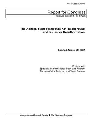 The Andean Trade Preference Act: Background and Issues for Reauthorization