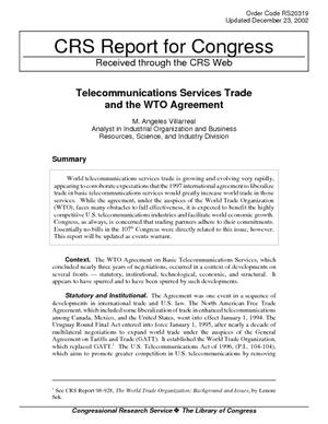 Telecommunications Services Trade and the WTO Agreement
