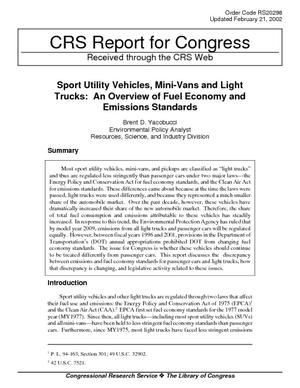 Sport Utility Vehicles, Mini-Vans and Light Trucks: An Overview of Fuel Economy and Emissions Standards
